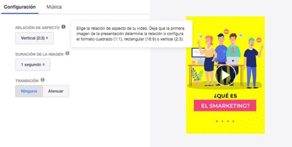 Captura de pantalla de la opción relación de aspecto