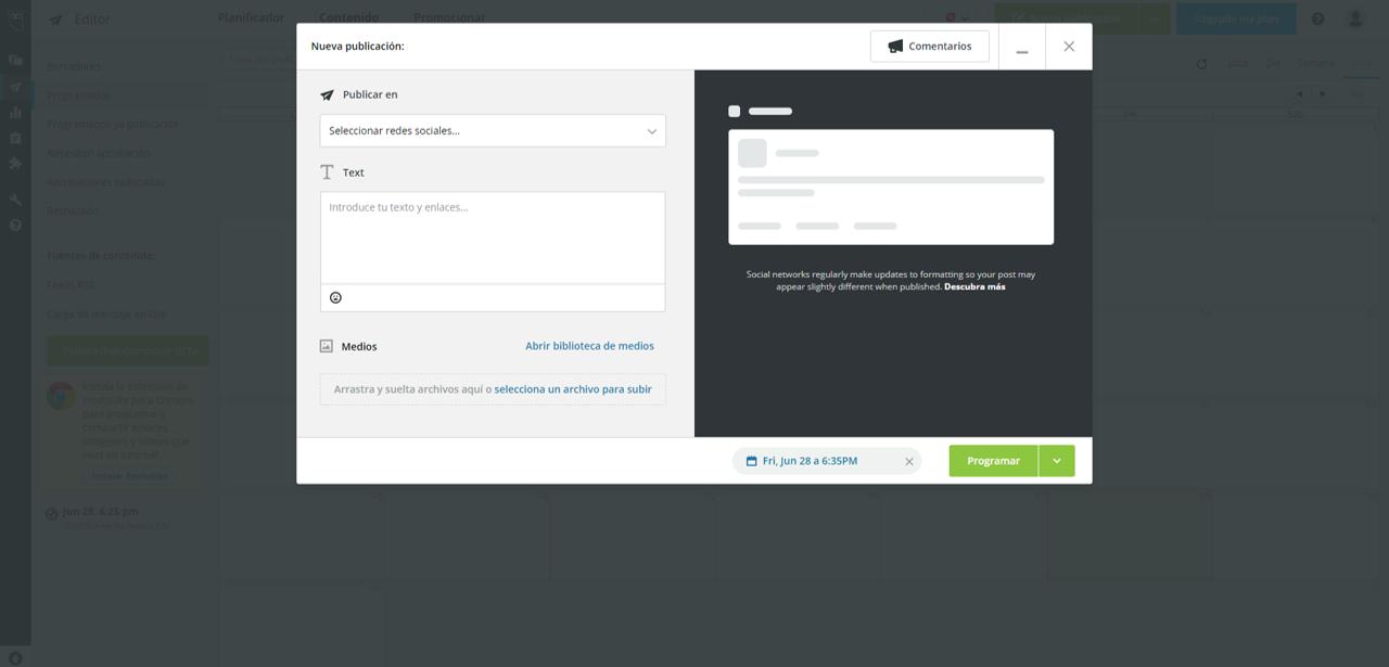 Captura de pantalla de la ventana de programación