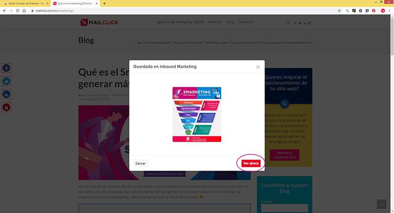 """Captura de pantalla del botón """"Ver ahora"""" para visualizar el pin en Pinterest"""