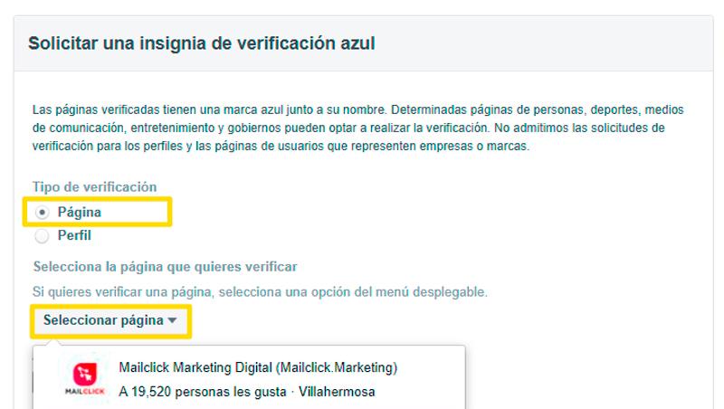 Captura de Pantalla de solicitud para verificar página de Facebook