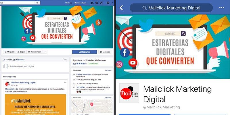 Visualización de una portada de Facebook en navegador web y en un dispositivo móvil