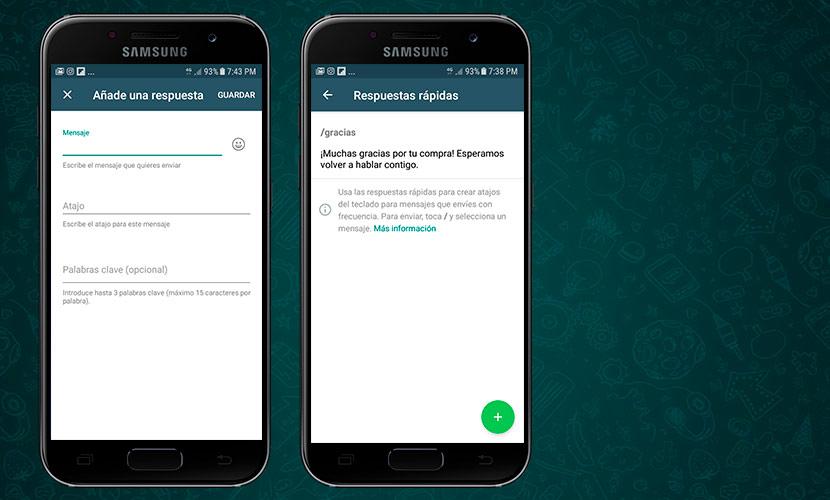 Respuestas rápidas en Whatsapp Business