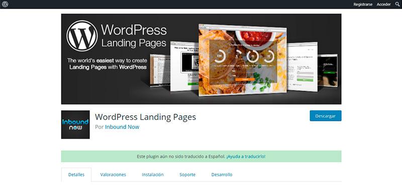 WordPress Landing Pages, plugin para hacer páginas de aterrizaje
